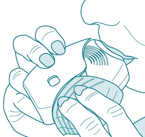 Step 3 illustration showing how to use the ANORO ELLIPTA inhaler