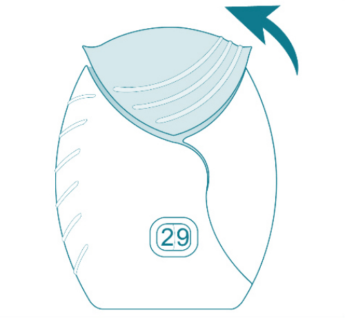 Step 5 illustration showing how to use  the ANORO ELLIPTA inhaler