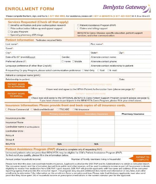 BENLYSTA Gateway Enrollment Form