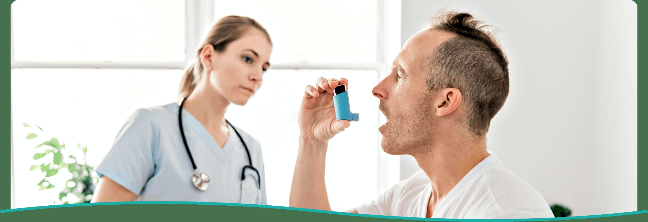 Banner: Doctor Giving Patient Inhaler