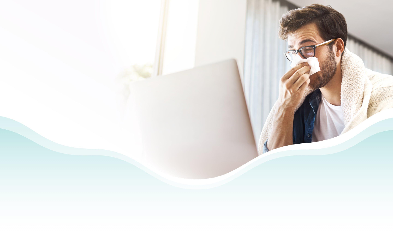 Banner: Sick Man on Laptop
