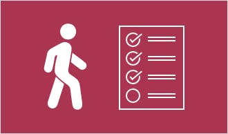Icon of walking person and checklist