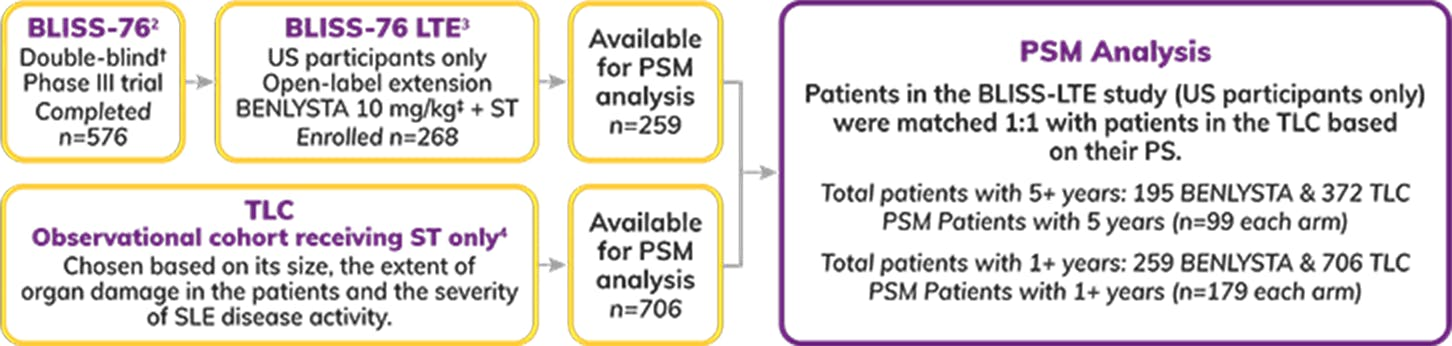 Graph: PSM Analysis between BLISS-76 long-term extension and patients from the TLC
