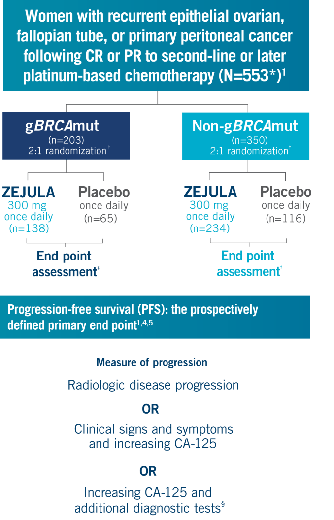 Visual showing NOVA trial design of adult patients with recurrent epithelial ovarian, fallopian tube, or primary peritoneal cancer following CR or PR to second-line or later platinum-based chemotherapy and progression-free survival (PFS).