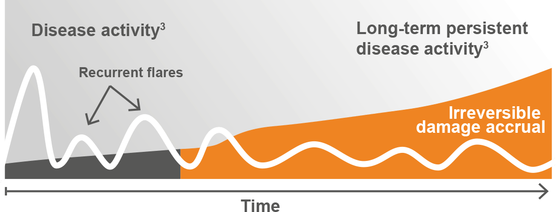 Chart showing the irreversible damage accrual that may occur in SLE patients with long-term persistent disease activity