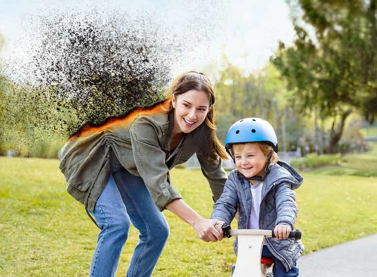 woman with child on bike